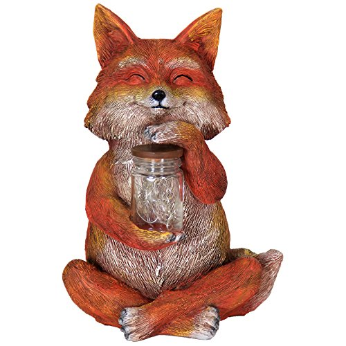 Exhart Fox with LED Firefly Jar Statue, Solar Powered, Resin & Glass, Weather Resistant, Indoors & Outdoors, 7
