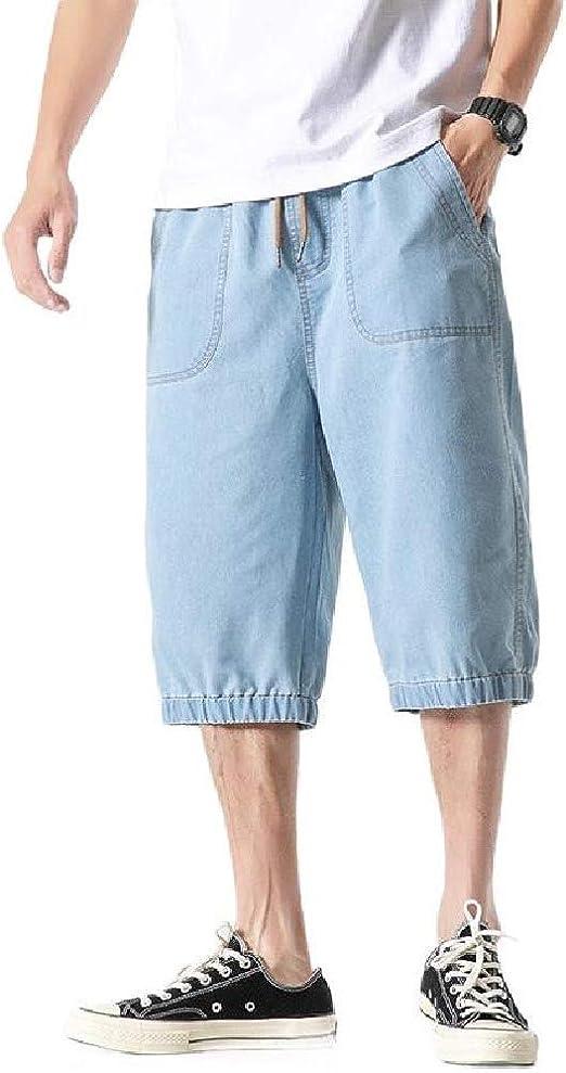 Memories Love Mens Loose Retro Denim Multi Pockets Drawstring Cropped Pants