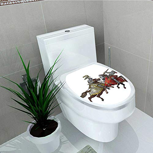 Philip C. Williams Toilet Seat Wall Stickers Paper Middle Age Fighters Knights with Costume Renaissance Period Decals DIY Decoration W6 x L8 -