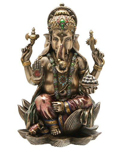 Top Collection 7 1/4-inch Ganesha Statue Hindu Elephant God of Success Real Bronze Powder Cast