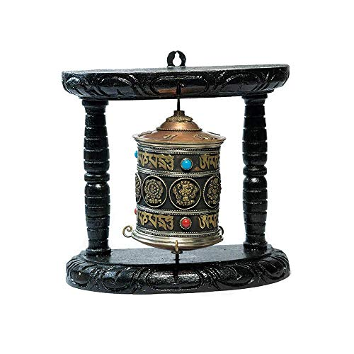Tibetan Prayer Wheel - Ojas Yatra Tibetan Wall Hanging Prayer Wheel (Single Prayer Wheel) - 8 Lucky Symbols & Om Mani Padme Hum Mantra Prayer - Premium Spiritual/Relaxation/Meditation/Yoga Accessories Gift Set