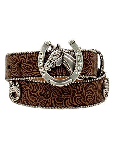 - Ariat Girl's Rhinestones Horsehead Buckle Belt, Tan, 22