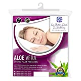4 Pack Premium Aloe Vera Pillow Protectors, zippered Encasement Case , Antimicrobial, Hypoallergenic Pillow Covers, Dust Mite, bed bug proof , Breathable Comfort, Standard/Queen
