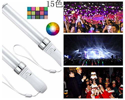 MAXZONE 15 Colors LED Light Stick, Reusable,Multicolor Flashing Light Effect Sticks Color Changing Foam Baton Strobe for Party Supplies, Festivals, Raves, Birthdays, Party Toy (1 Pack)