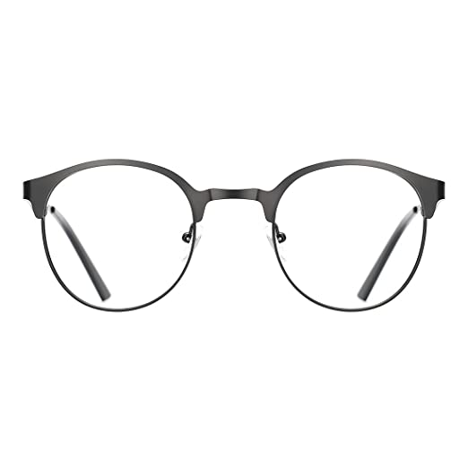 6e3ee91172 Amazon.com  TIJN New Round Metal Non-Prescription Glasses Frame with ...