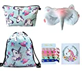 Unicorn Gifts for Girls 5 Pack - Unicorn Drawstring Backpack/Makeup Bag/Eye Mask/Hair Ties/Card (5 Set Blue)