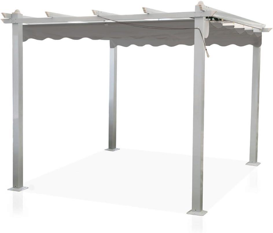 Cenador Astoria de 3 x 3 m con palos de aluminio y cubierta ...