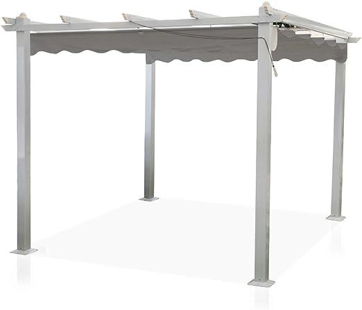Cenador Astoria 3 x 4 m, postes de aluminio, cubierta desmontable ...