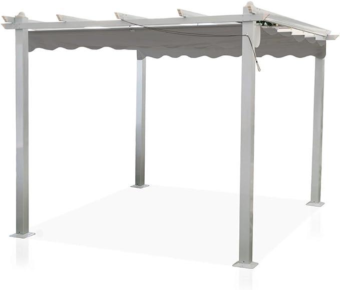 Cenador Astoria de 3 x 3 m con palos de aluminio y cubierta desmontable, pérgola para veranda modelo GA802028/T: Amazon.es: Jardín