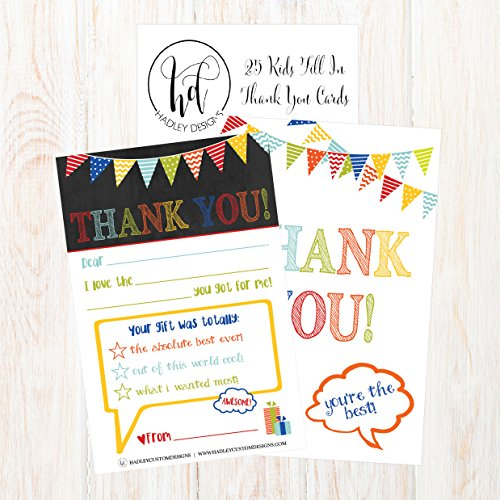 25 Rainbow Banner Kids Thank You Cards, Fill In Thank You Notes For Kid, Blank Personalized Thank Yous For Birthday Gifts, Stationery For Children Boys and Girls Photo #2