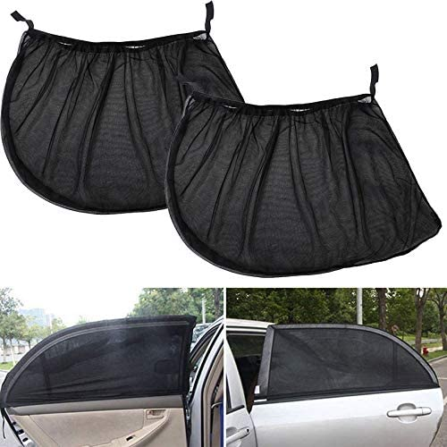 Protector Cover For Baby WOVELOT 2Pcs Universal Car Window Sun Shade Breathable Mesh Sun Shield Uv Rays Protection Window Curtain Folding Sun Visor Net