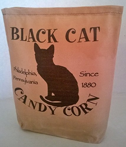 000 – Black Cat Halloween Fabric Feed Sack Luminary Bag with Country, Primitive, Vintage Image. Battery Operated Flickering Candle and Candle Holder -