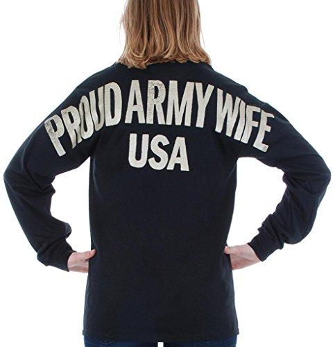 Army Wife Dark T-shirts (US Army - Proud Army Wife USA Stadium Jersey T Shirt Black Small)