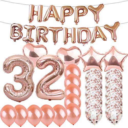 Sweet 32th Birthday Decorations Party Supplies,Rose Gold Number 32 Balloons,32th Foil Mylar Balloons Latex Balloon Decoration,Great 32th Birthday Gifts for Girls,Women,Men,Photo Props (32 Birthday Party Supplies)