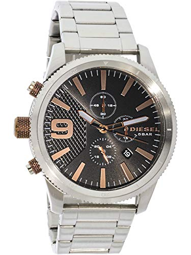 Diesel Men's Rasp Chrono 46 Japanese-Quartz Watch with Stainless-Steel Strap, Silver, 24 (Model: DZ4457)