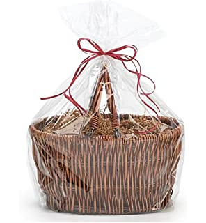 CakeSupplyShop Extra Large Jumbo Cellophane Bags Gift Basket- 30 x 40 Inch with Gift Tags