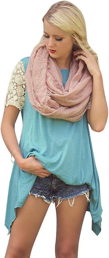 STORTO Womens Irregular Hem Short Sleeved Pullover Stitching Lace Hook Flower Top