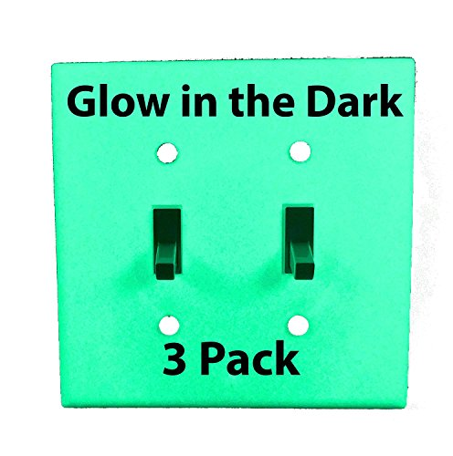 Glow in the Dark Safety 2-Gang Wall Cover Plate - White Plastic - Standard Size for Double Toggle Light Switch (3 Pack)