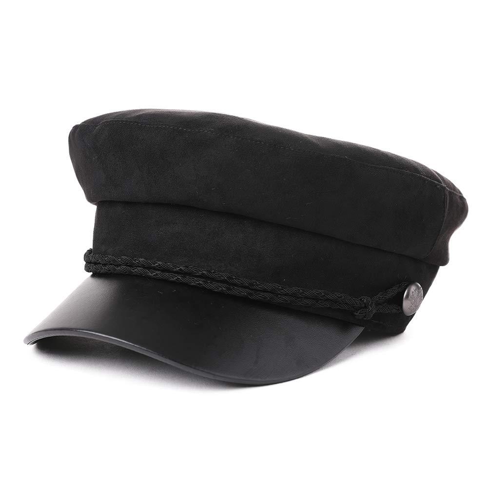 86fd2e2886d83 FancetAccessory Fashion Suede Newsboy Cap Sailor Fiddler Greek Hat Cotton  Lined PU Visor 56-59CM larger image