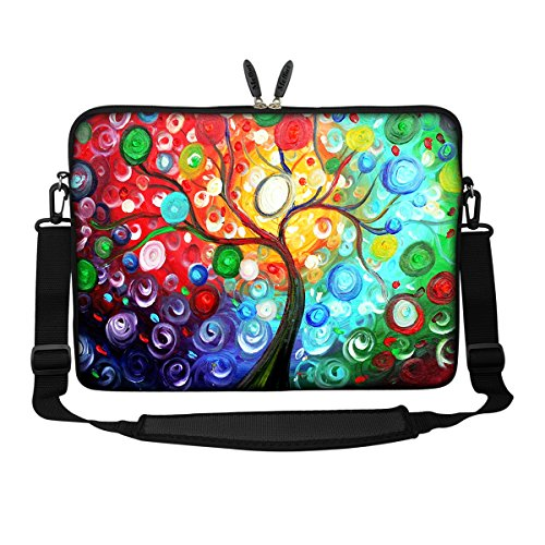 - Meffort Inc 15 15.6 inch Neoprene Laptop Sleeve Bag Carrying Case with Hidden Handle and Adjustable Shoulder Strap - Colorful Tree