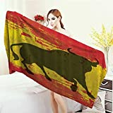 Highly Absorbent Bath Towel Spanish Bull Antiqued Aged Symbol Spaniard Icon Spain Flag Grunge Digital Clip Art Funky Lovely Decor Print Yoga Mat Towel 63''x31.5'' Red and Yellow