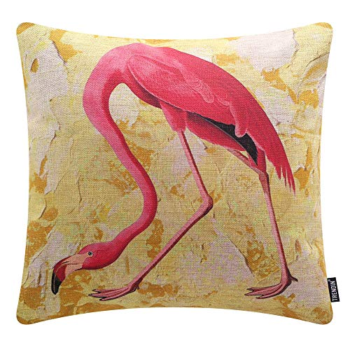 TRENDIN Farmhouse Pink Flamingo Pillow Cover 18x18 inch Cotton Linen Yellow Outdoor Summer Decor Throw Cushion Case PL462TR