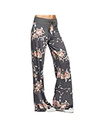 Newbestyle Women High Waist Casual Comfy Stretch Floral Print Drawstring Boho Palazzo Pants