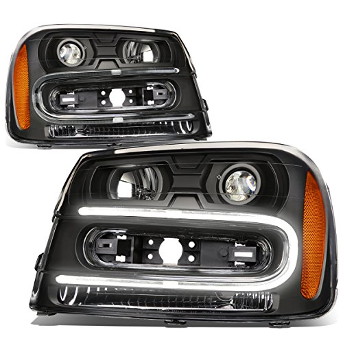 For Chevy Trailblazer Pair of Black Housing Amber Corner LED U-Running Projector Headlight - Chevy Trailblazer Headlamp Headlight
