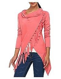 AuntTaylor Womens Causal Tassel Hem Long Sleeve Blouse Button End Wrap Cardigans