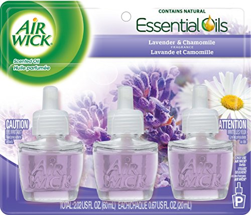 Air Wick Scented Oil Air Freshener, Lavender and Chamomile, 3 Refills, 0.67