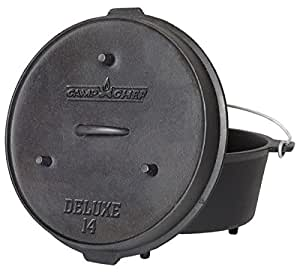 """Camp Chef DO-14 Pre-Seasoned Deluxe 12-Quart 14"""" Dutch Oven with Lid"""