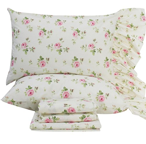 Queen's House Rose Floral Pillowcases Shams Queen Set of (Floral Sham)