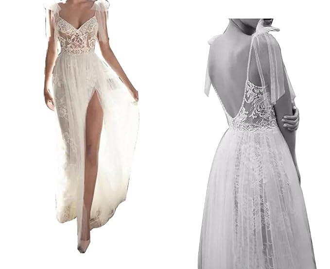 Lisaon Womens Sexy Spaghetti High Split Backless Lace Wedding
