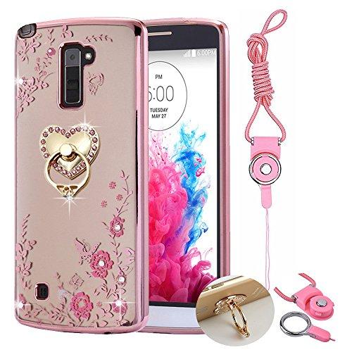 LG Stylo 2 Case ,LG Stylo 2 plus Case Case , BestAlice Slim Soft Gel Clear Bling Case Rose Gold Metal Plating Bumper Cover & Lanyard Neck Strap , Heart - Alice Gold