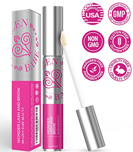 Powerful Clinically Proven Rapid Eyelash Serum Formula   Wonder Lash & Brow Quickly Grows Your Own Lush, Long, Robust Lashes & Eyebrows, Guaranteed, w/Apple Stem Cells, Coconut Castor Oil & Pro Vit E