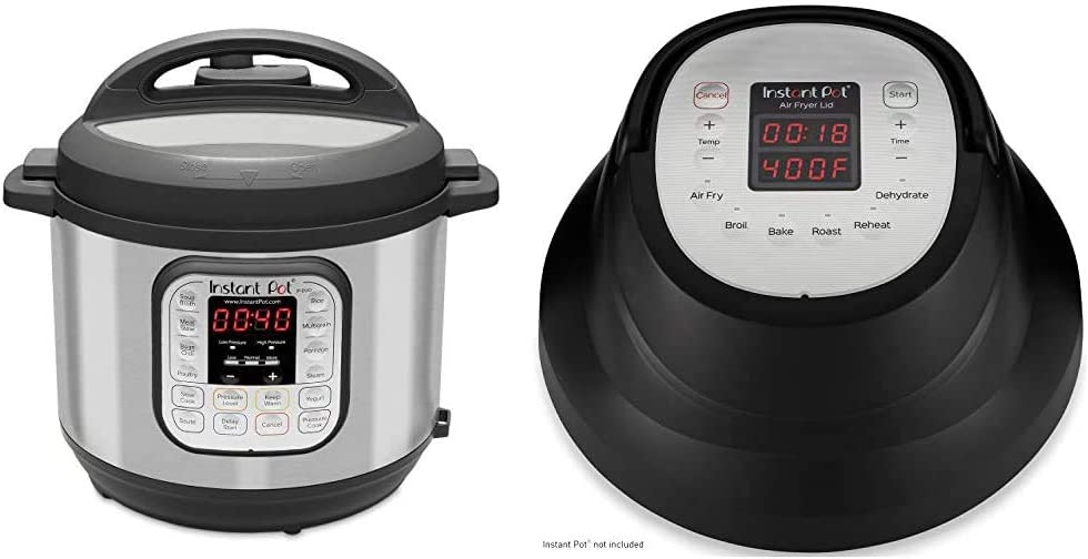 Instant Pot Duo 7-in-1 Electric Pressure Cooker, Slow Cooker, Saute, Yogurt Maker, 6 Quart, 14 One-Touch Programs & Air Fryer Lid 6 in 1, Turn your Instant Pot into an Air Fryer, 6 Qt, 1500W