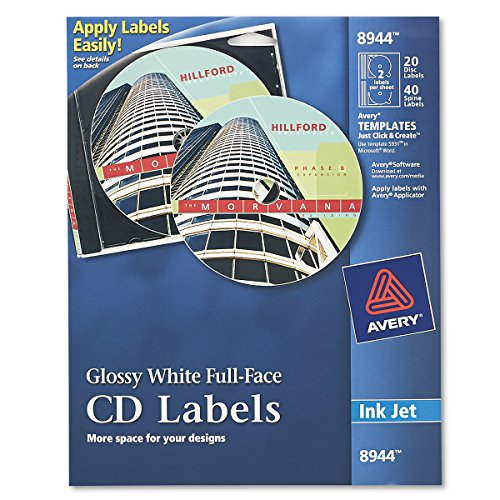 Avery Full-Face CD Labels for Inkjet Printers, Glossy White, 20 Disc Labels and 40 Spine Labels (8944) (Glossy Polyester Labels)