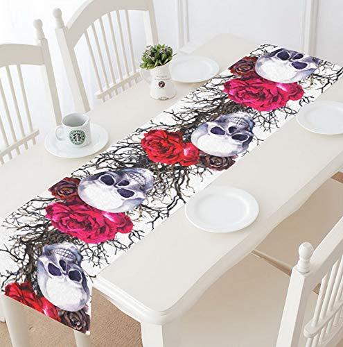 Kaputar Sugar Skull Roses Table Runner 14 X 72 Inch, Halloween Skull Tree Branch Table Cloth Runner for Banquet Decoration | Model WDDNG -1214 | 14 X 72 inch