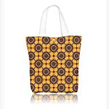 canvas tote bag Collection Traditional Old Style Arabesque Islamic Mosaic Pattern in Retro Vintage Colors Ancient reusable canvas bag bulk for grocery,shopping W16.5xH14xD7 INCH