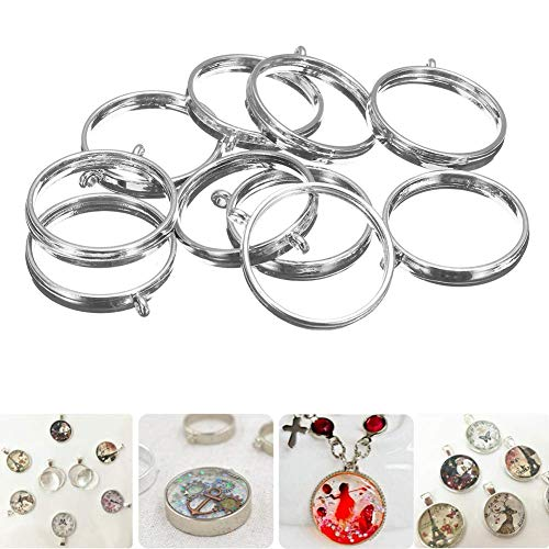 Luckycivia 12PCS 25mm Round Open Back Bezel Pendant, Zinc Alloy  Round Frame Pendant Open Back Frame with 1 Loop for Jewerry Making, Silver