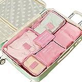 Toyoo 6 Pcs Waterproof Clothes Packing Cubes Travel Luggage Organizer Bag (Pink)