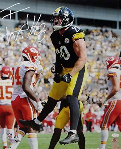 TJ Watt Autographed Pittsburgh Steelers 16x20 PF Photo Jumping vs KC- JSA W Auth/Holo Black