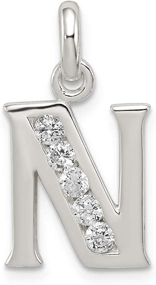 JewelrySuperMart Collection Sterling Silver Cubic-Zirconia CZ Initial Pendant