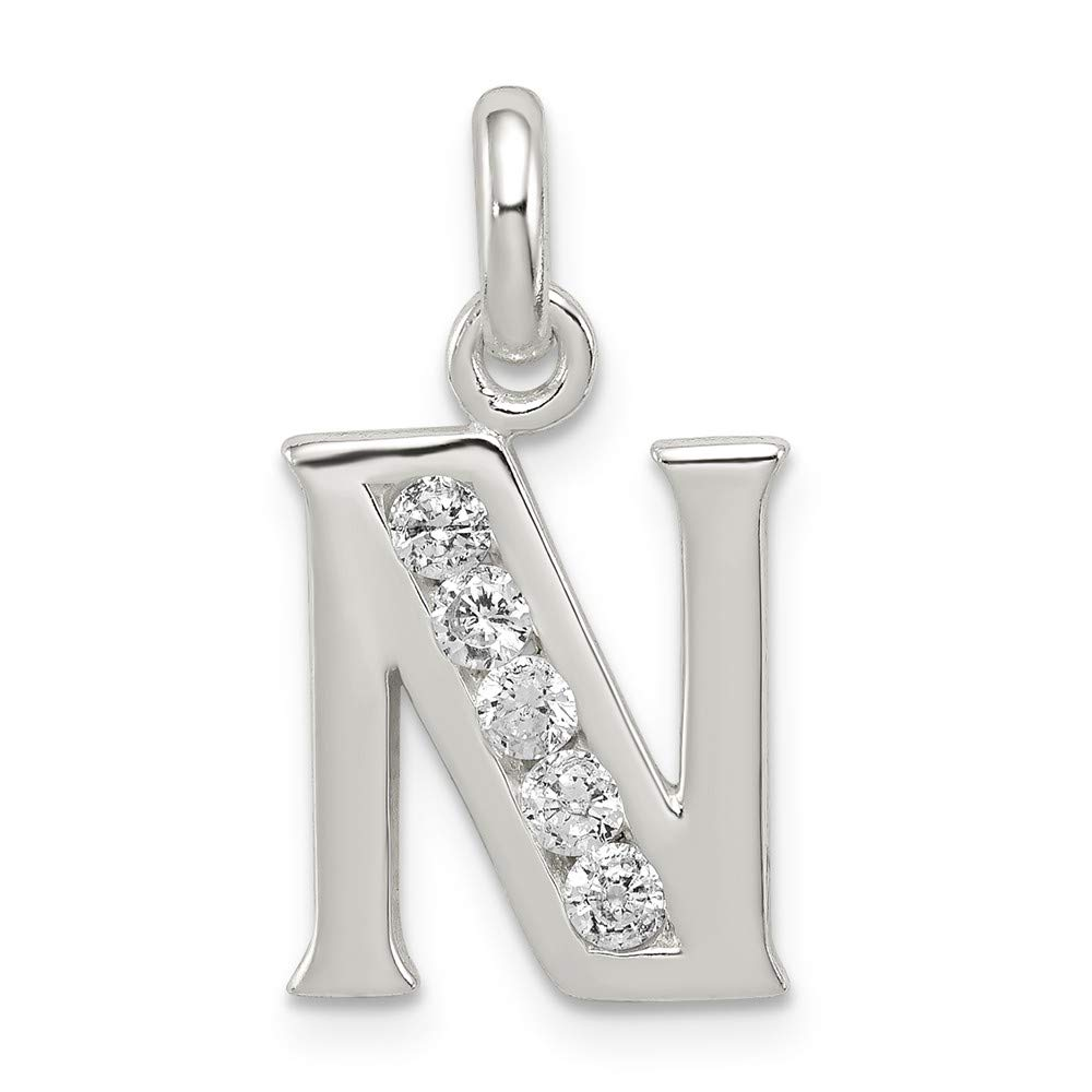 Jewelry Stores Network Sterling Silver White CZ Initial N Pendant