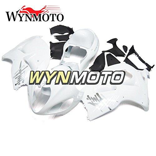 WYNMOTO ホワイト外装パーツセット適応スズキ GSXR1300 GSX-R 1300 97-07 1997 2007 年ボディワークカウ   B077GR9RCY