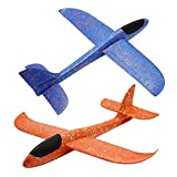 Barbariol 2 Flight Foam Throwing Glider Model for Outdoor Sport Toy,Blue & Red (Blue+Orange)