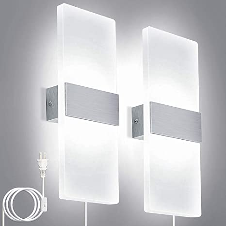 Lightess Modern Wall Sconces Plug In 12w Up Down Led Wall Lights Acrylic Wall Lamp For Living Room Bedroom Corridor Cool White Set Of 2