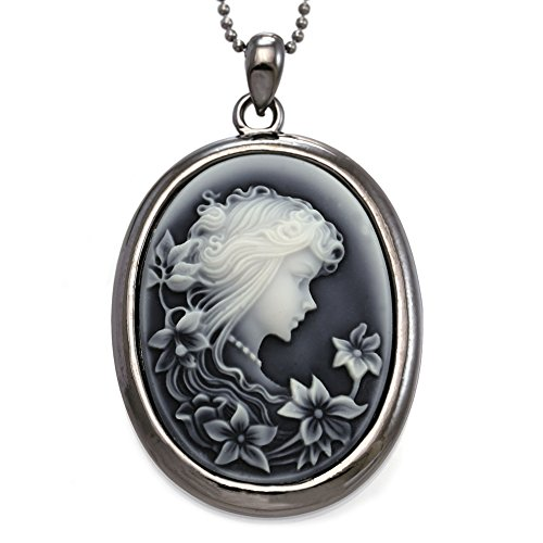 SoulBreezeCollection Grey Cameo Pendant Necklace Charm Fashion Jewelry for Women (Cameo Pendant Necklace)