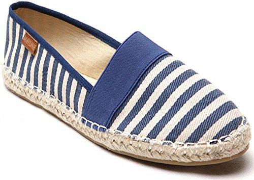 Womens Canvas Slip On Espadrilles Pumps Shoes Blue LPeLj9y