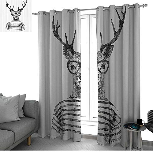 Deer Decor Collection Blackout Curtains Panels for Bedroom Dressed Up Deer Reindeer Headed Human Hipster Style with Glasses Striped Shirt Design Curtain Panels Black White W84 x L96 Inch ()